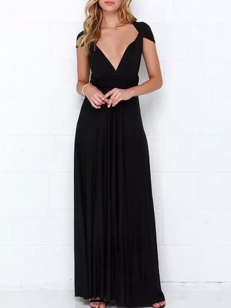 Women's Maxi Long Dress Sleeveless Solid Color Aline Celebrity Sexy Dress