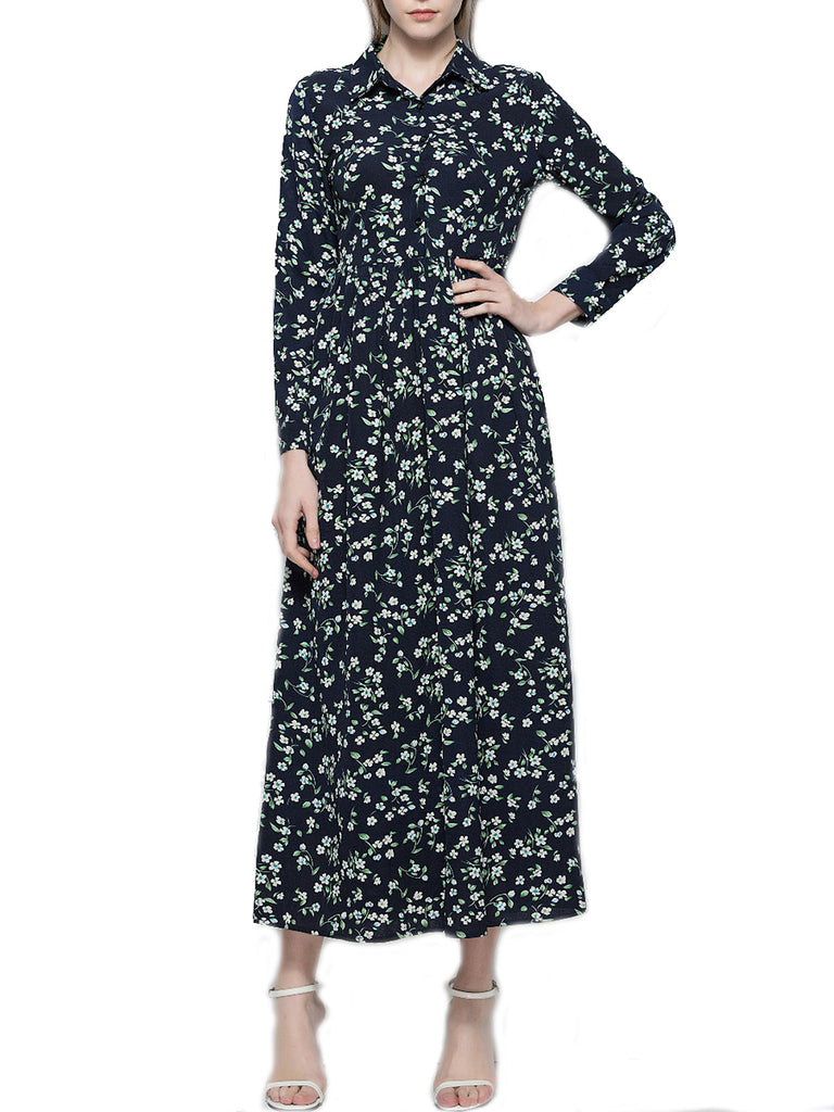 Women's Maxi Long Dress Turn Down Collar Long Sleeve Floral Print Dress