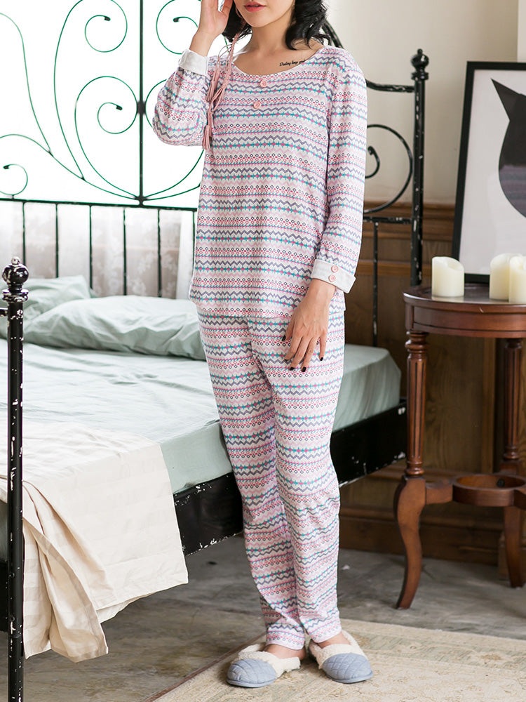 Women's Sleepwear Suit Sweet O Neck Long Sleeve Comfy Pajama Set