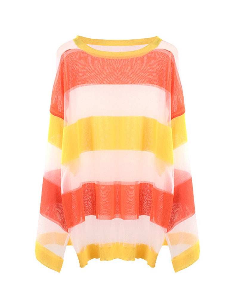 Women's Knitwear Long Sleeve Color Block Loose Pullover