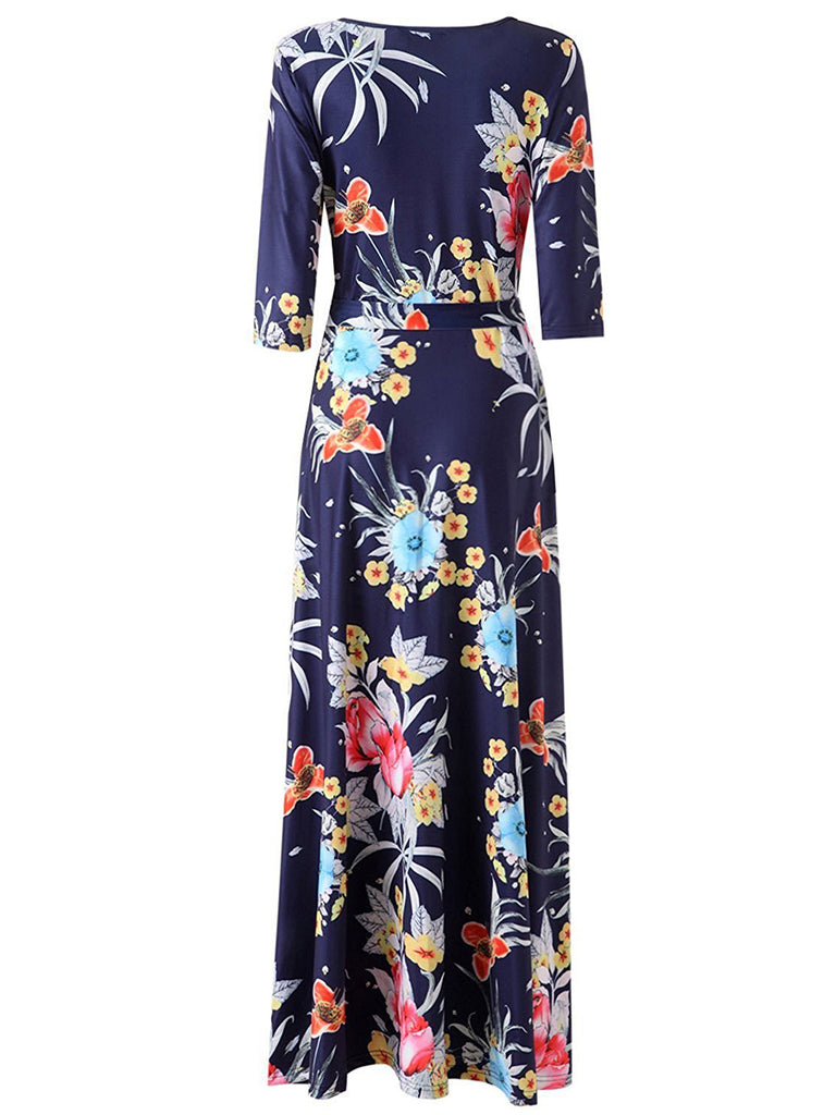 Women's Maxi Long Dress V Neck Three Quarters Sleeve Floral Aline Dress