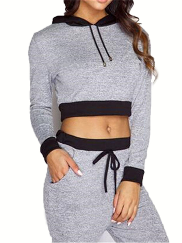 Women's Suits Hooded Long Sleeve Sports Pants Suits