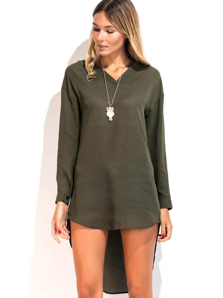 Women's Shirt Dress Solid Color Long Sleeve High Low Dress