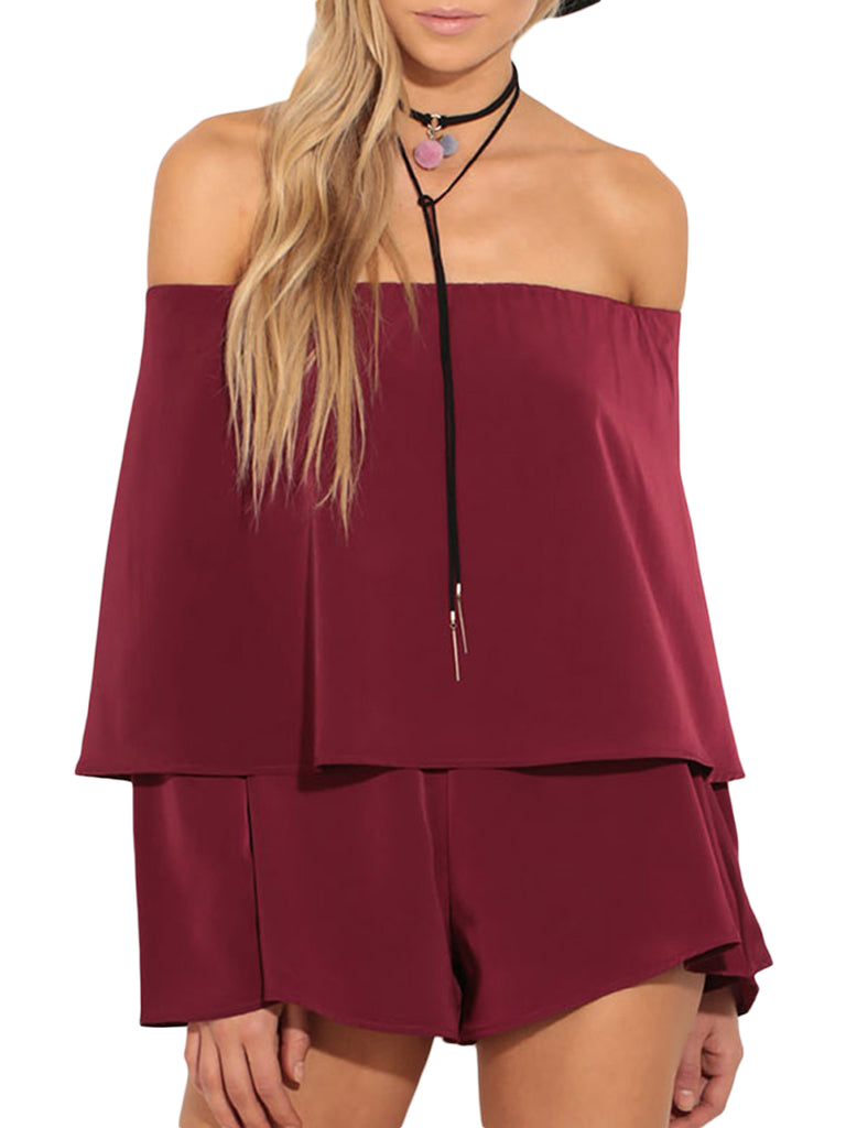 Women's Playsuits Solid Color Off Shoulder Sexy Playsuits