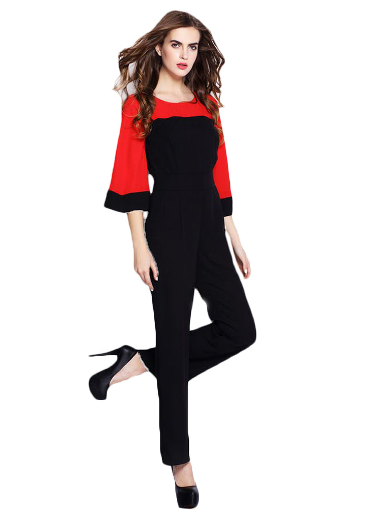 Women's Jumpsuits Color Block Flared Sleeve Jumpsuits