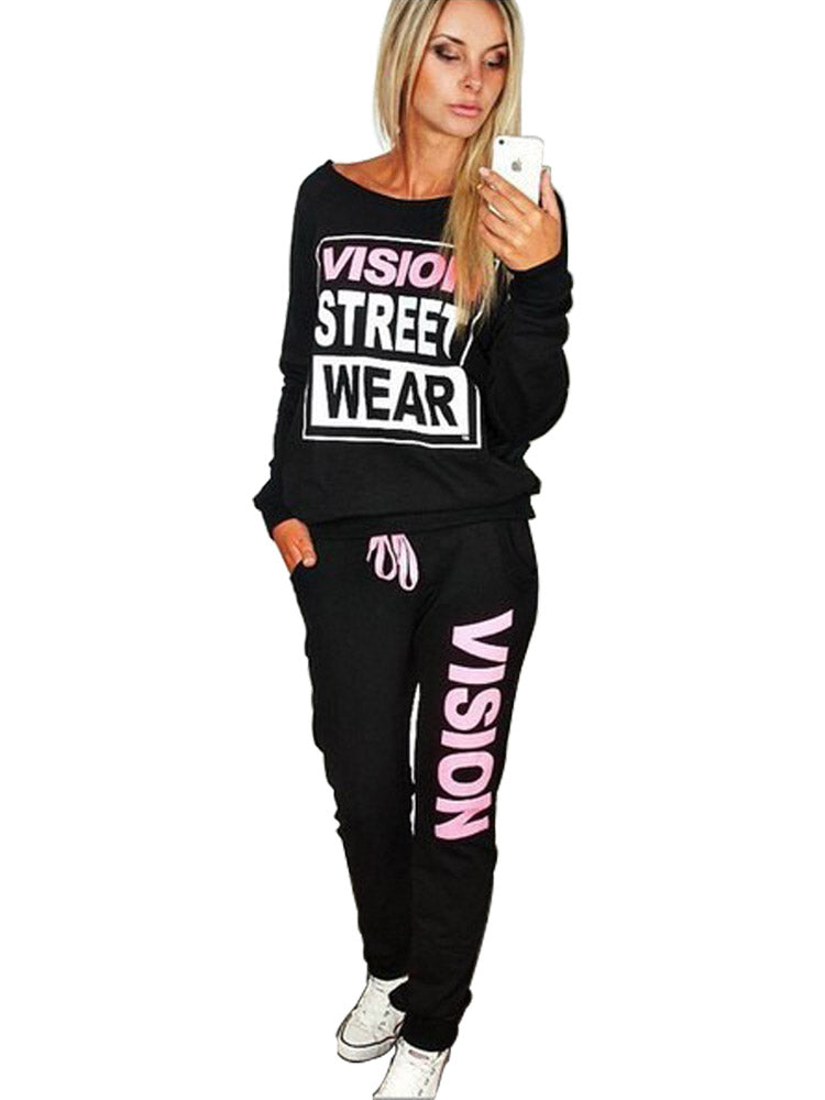 Women's Suits O Neck Long Sleeve Print Letter Sports Pants Suits