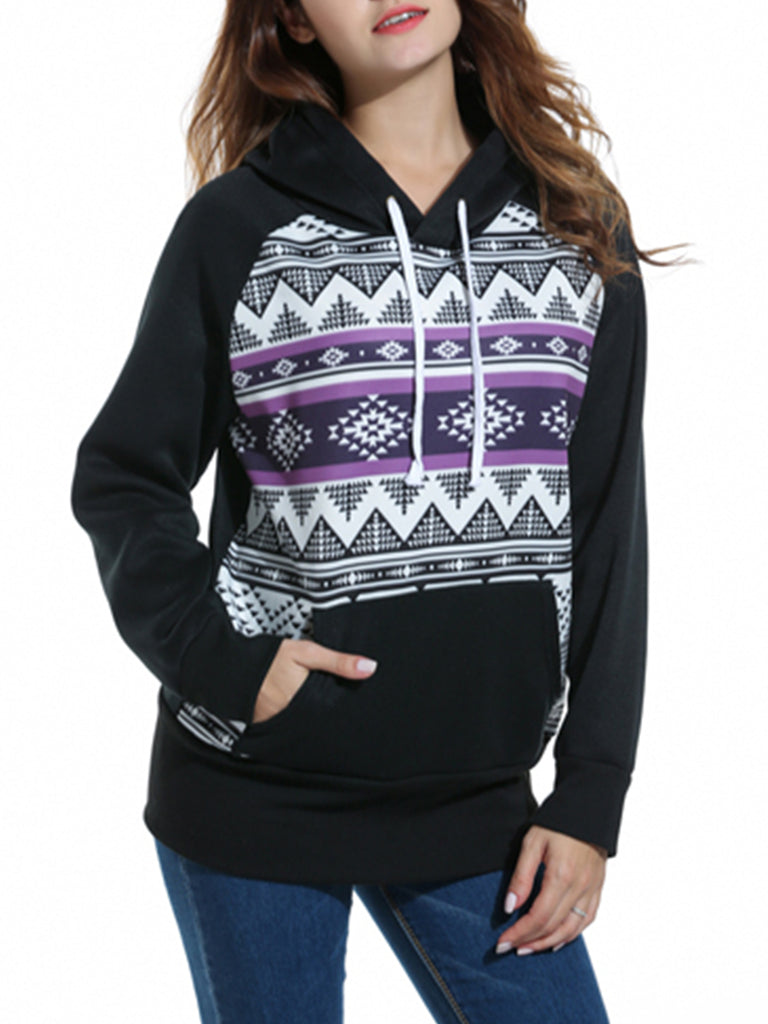 Women's Hoodie Geometric Pocket Casual Top
