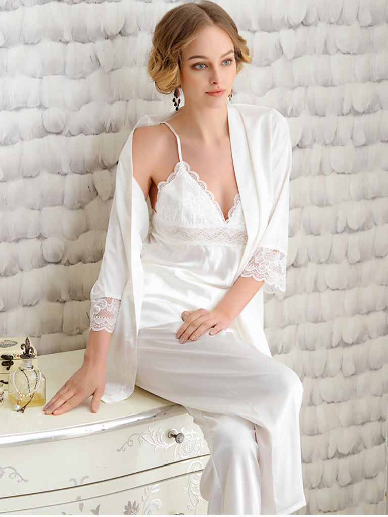 Women's 3Pcs Sleepwear White Lace Hem V Neck Three Quarter Sleeve Home Suit