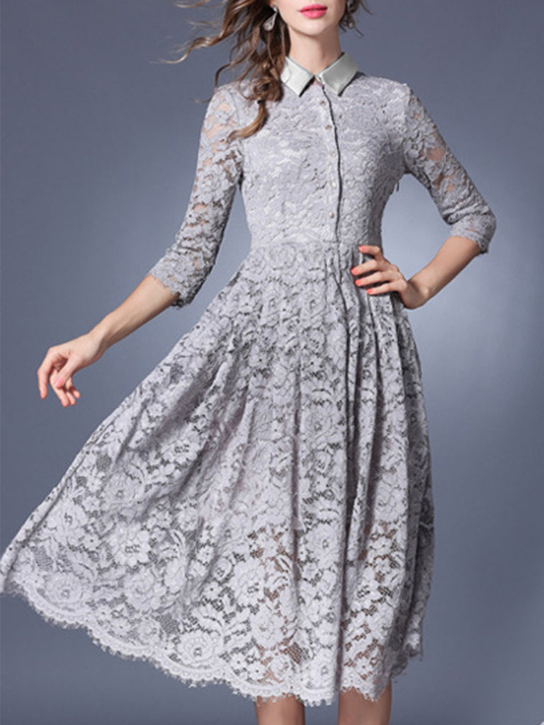 Women's Aline Dress Turn Down Collar Solid Color Lace Dress