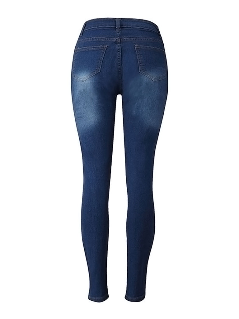 Women's Jeans Hole Design Frayed Slim Jeans