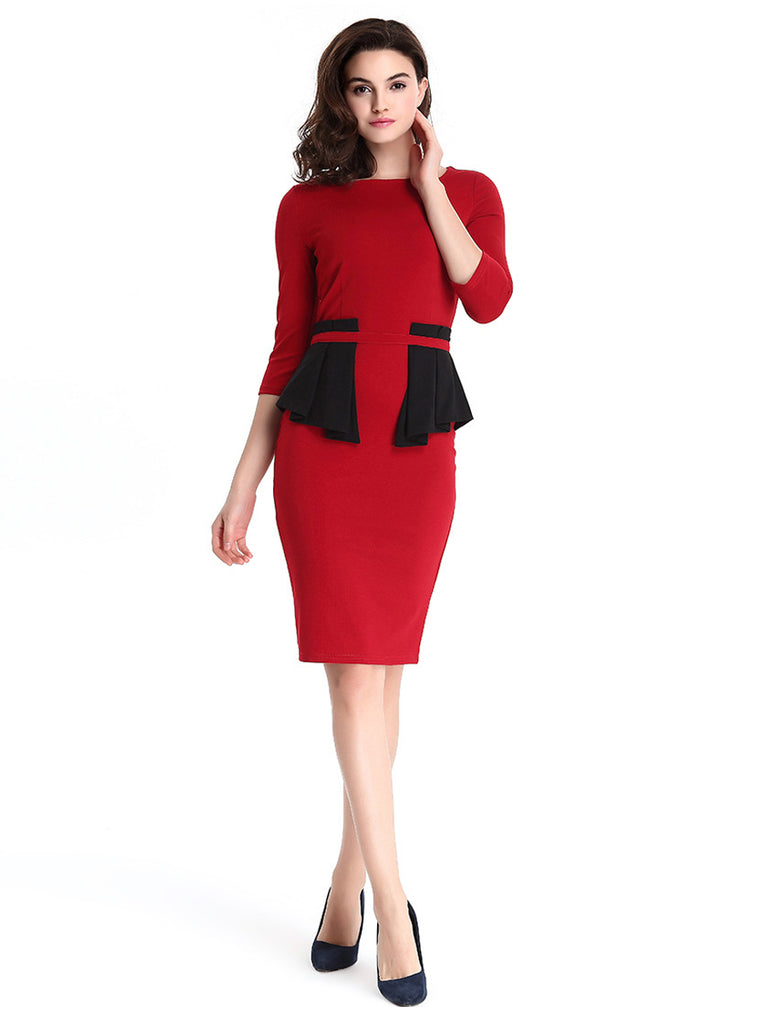 Women's Dress Elegant Slim Solid Color Ruffles Sheath Midi Plus Size Dress