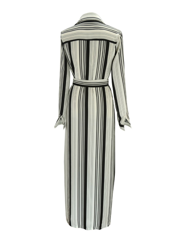 Women's Maxi Long Dress Long Sleeve Striped Pattern Split Design Dress