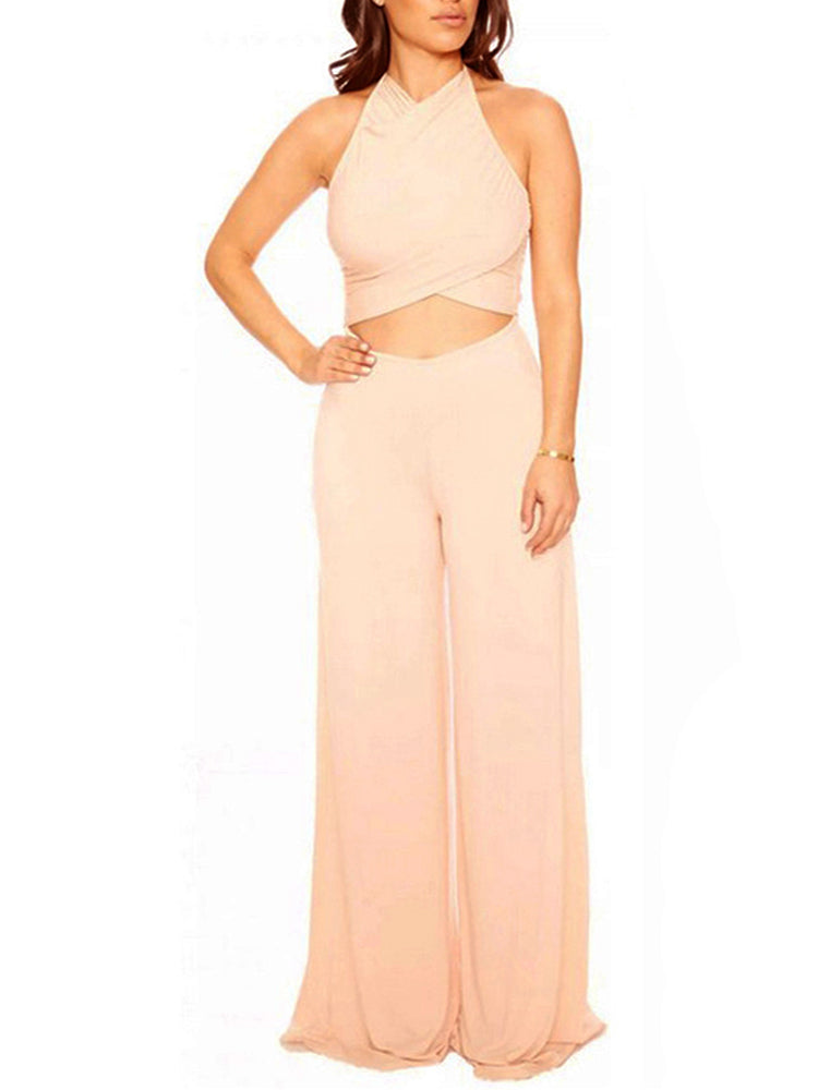 Women's Jumpsuits Sexy Backless Solid Color Jumpsuits