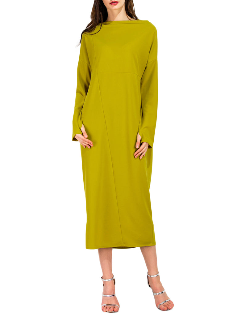 Women's Dress O Neck Long Sleeve Solid Plus Size Dress
