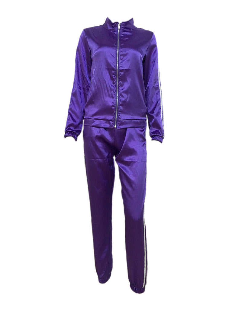 Women's Sports Suits Stand Collar Long Sleeve Solid Pants Suits