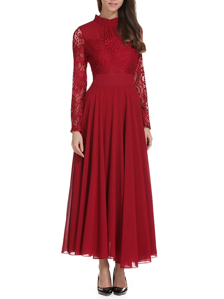 Women's Dress Stand Collar Lace Patch Maxi Long Dress