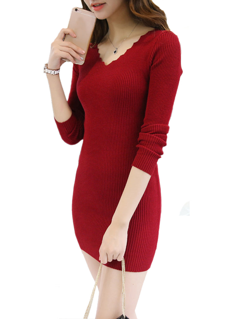 Women's Dress Wave Edge V Neck Solid Color Dress