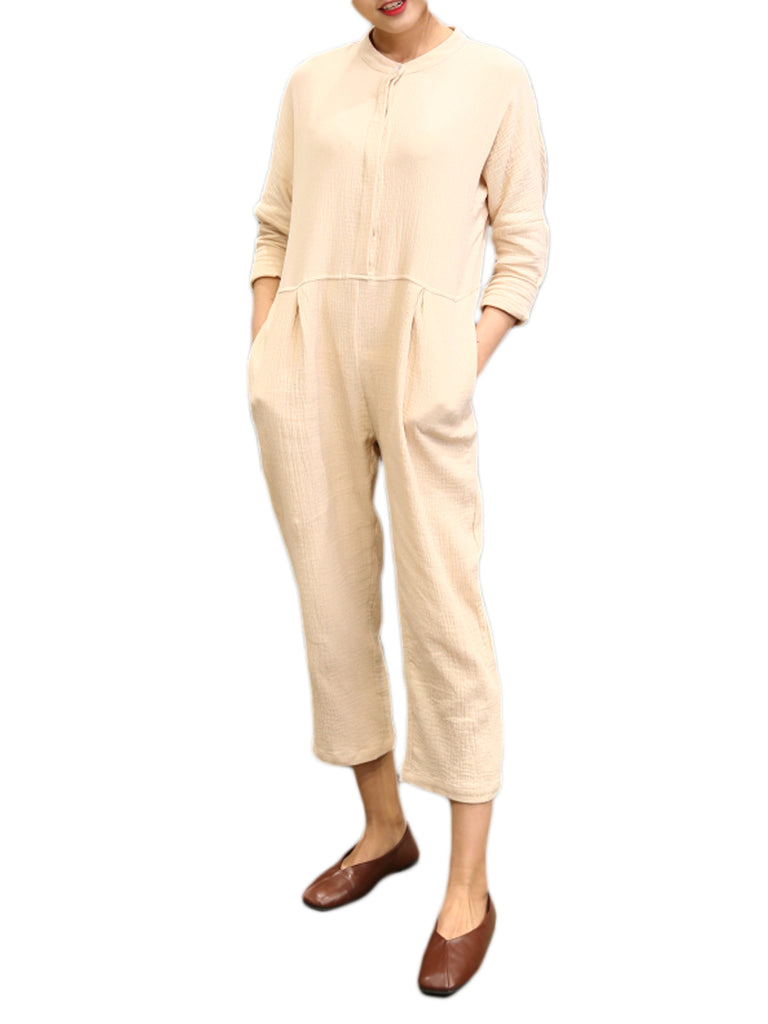 Women's Jumpsuits O Neck Solid Color Loose Cropped Jumpsuits