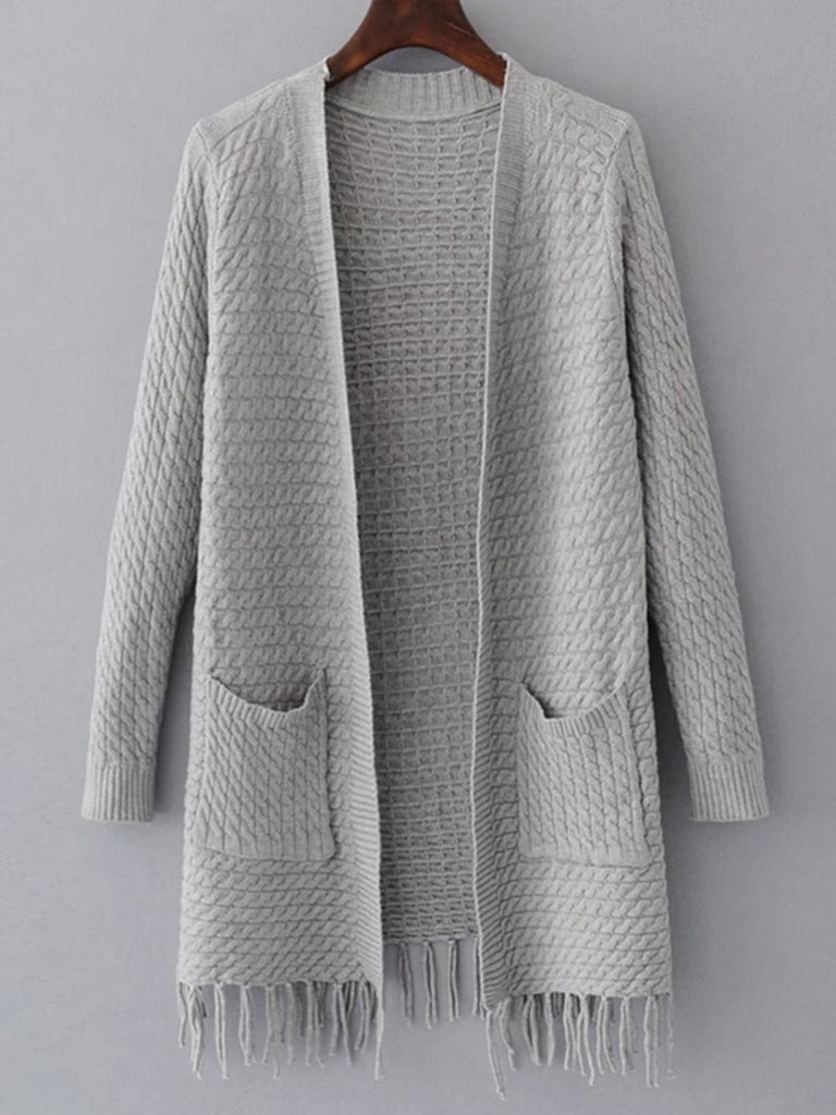 Women's Cardigan Long Sleeve Open Front Tassel Hem Solid Color Knitwear