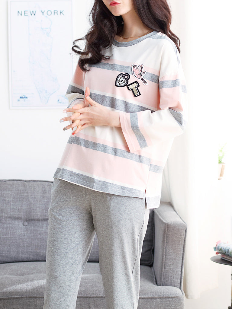 Women's Pajama Set Striped O Neck Long Sleeve Top Solid Color Pants Casual Home Suit