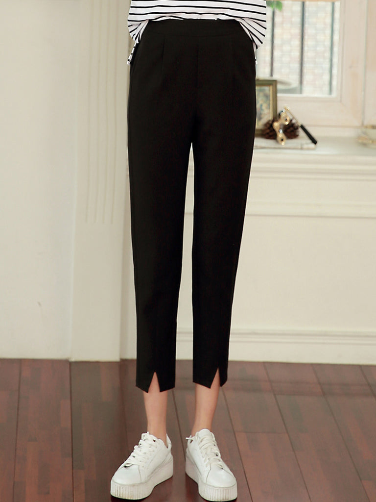 Women's Pants Mid Waist Solid Color Cropped Slim Pants