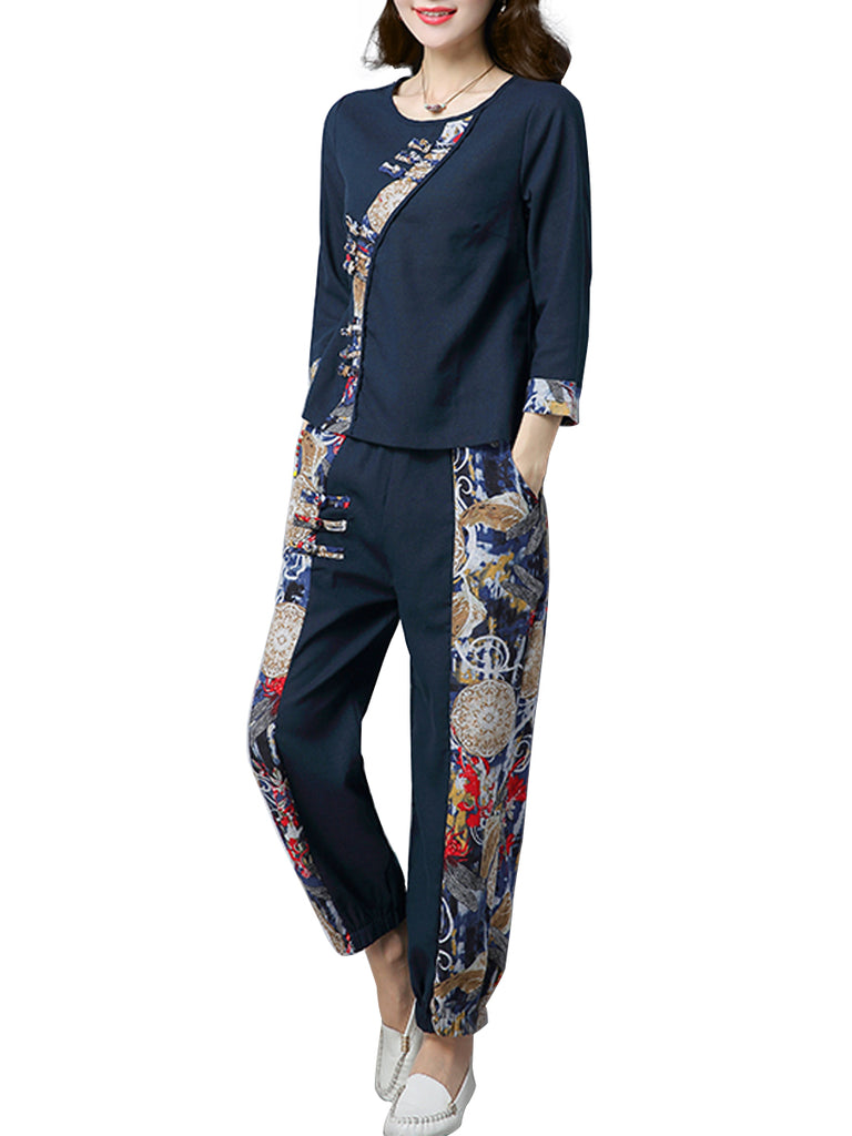 Women's 2Pcs Three Quarters Sleeve Patchwork Top Ethnic Style Pants Suits