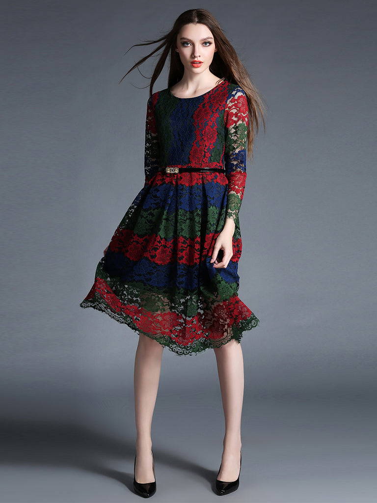 Women's Clothing Long Sleeve Hollow Out Color Block Lace Dress
