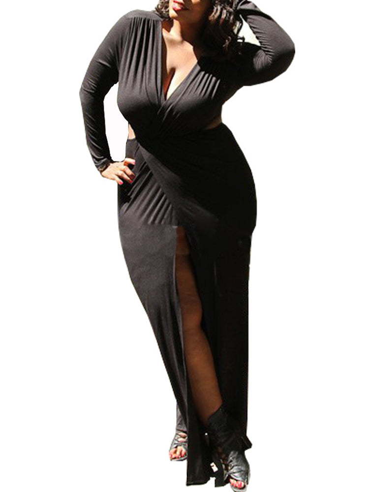 Women's Dress Sexy Split Solid Plus Size Maxi Long Dress