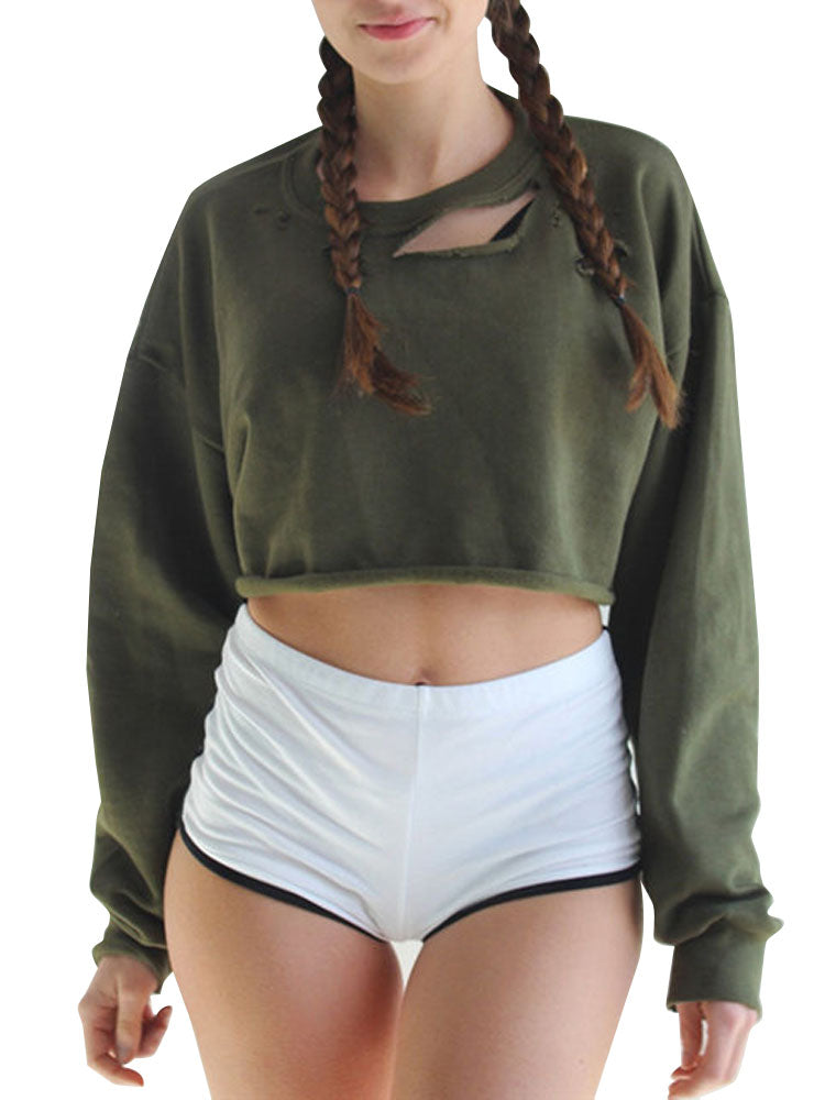 Women's Sweatshirt Hole Design Solid Cropped Sweatshirt