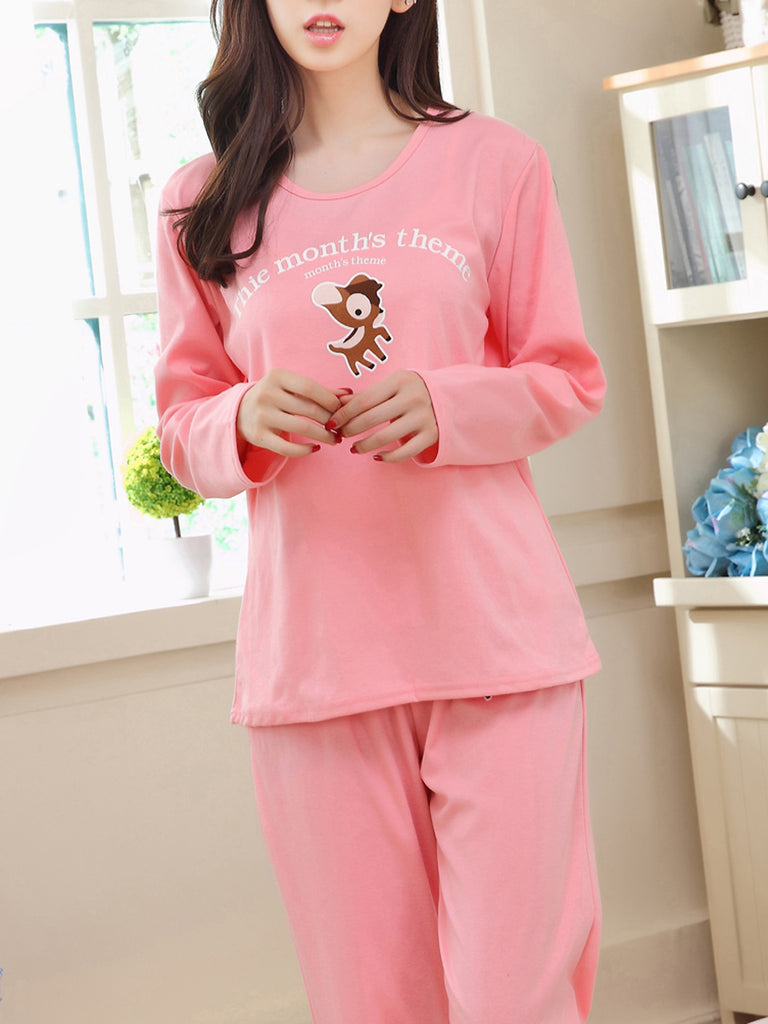 Women's Pajama Set Brief Sweet Cute Cartoon Pattern O Neck Long Sleeve Home Suit