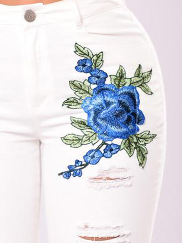 Women's Jeans Mid Waist Hole Design Floral Embroidery Jeans