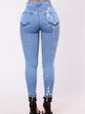 Women's Jeans Mid Waisted Hole Design Slim Fit Denim Pants