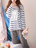 Women's Home Suit Cute Cartoon Pattern Striped Long Sleeve Casual Pajama Set