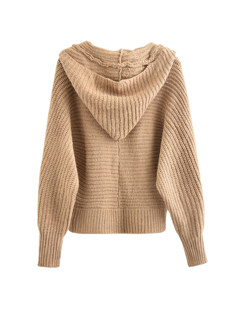 Women's Hoodie Knitwear Long Sleeve Solid Color Loose Top