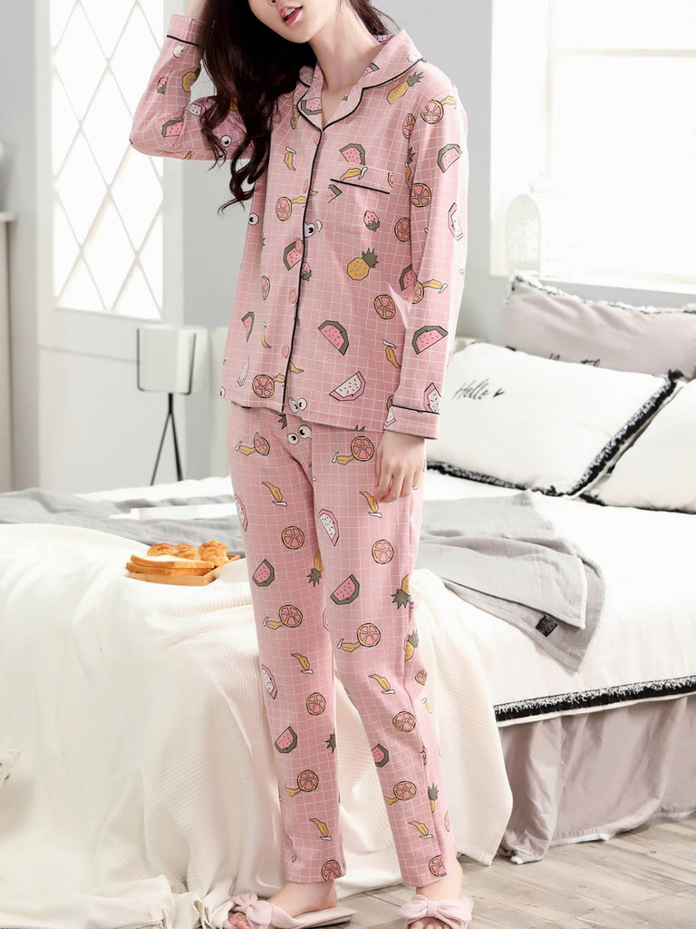 Women's Home Suit Plaid Fruit Pattern Turn Down Collar Long Sleeve Sweet Pajama Set