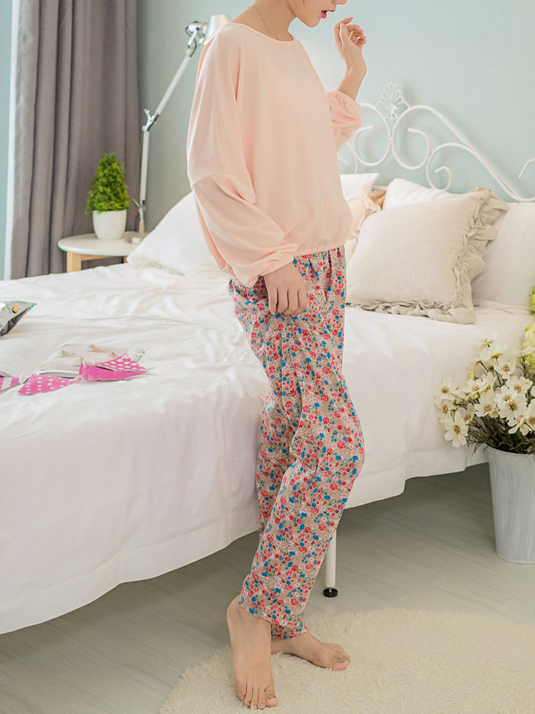 Women's Home Suit Solid Color Long Sleeve Top Floral Pants Sweet Pajama Set