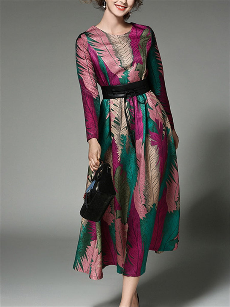 Women's Dress Floral O Neck Long Sleeve Print Aline Slim Maxi Long Dress