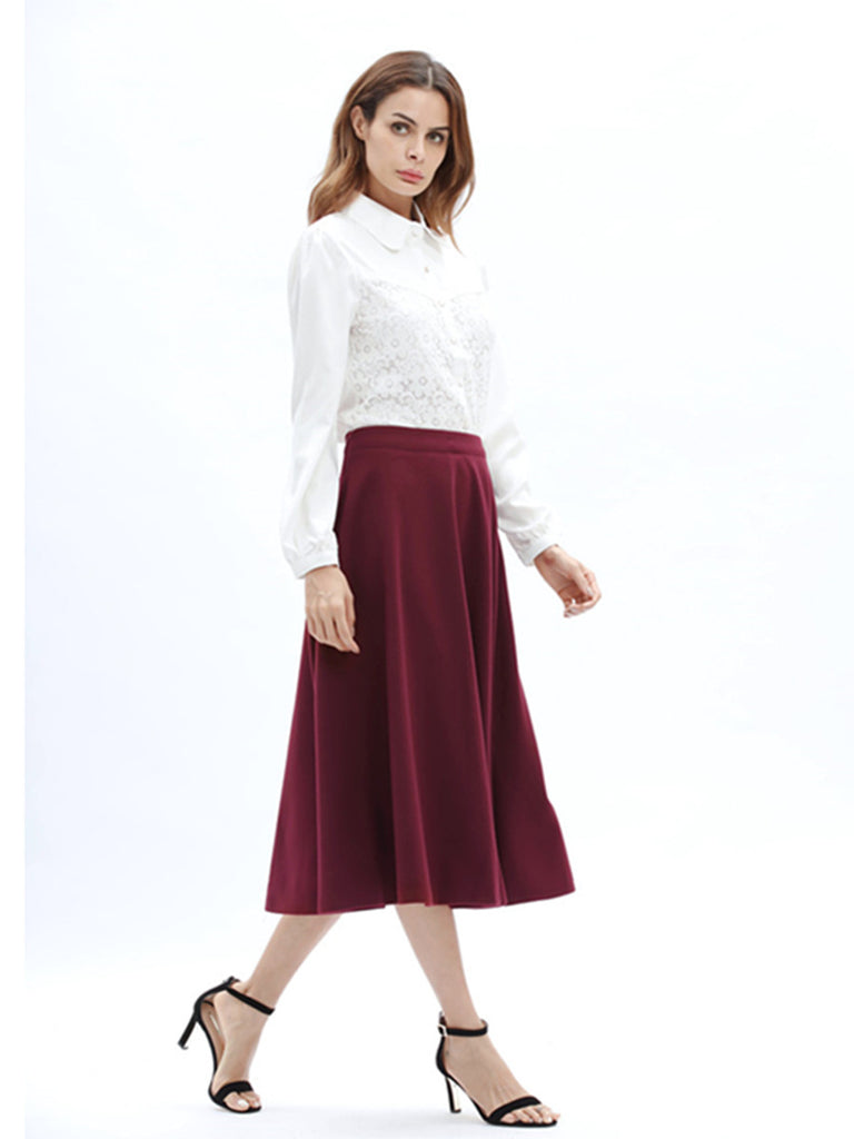 Women's Aline Skirt Solid Color Top Fashion Midi Skirt