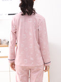 Women's Pajama Set Turn Down Collar Long Sleeve Button Pink Sweet Home Suit