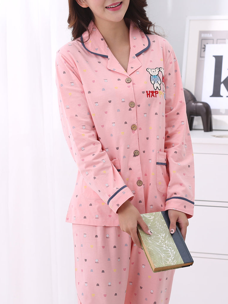 Women's Pajama Set Pink Turn Down Collar Button Long Sleeve Sweet Home Suit