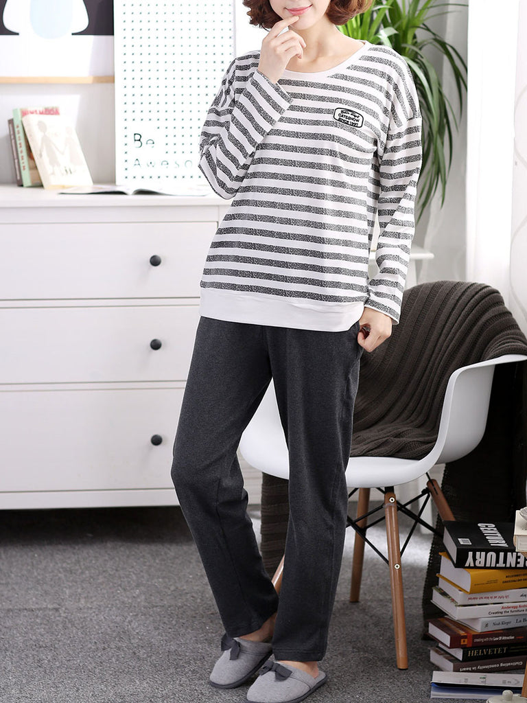 Women's Sleepwear Set Striped Long Sleeve Top Solid Color Pants Home Suit