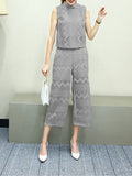 Women's 2Pcs Pants Suits Wavy Pattern Wide Leg Pants Suits