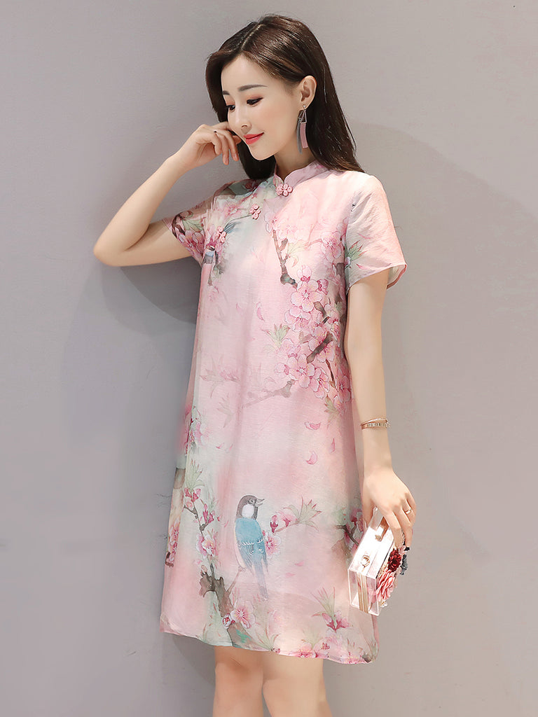 Women's Dress Ethnic Style Short Sleeve Floral Dress