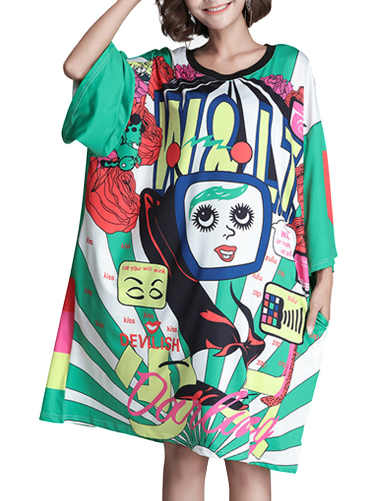 Women's T Shirt Dress Color Block Cartoon Loose Dress