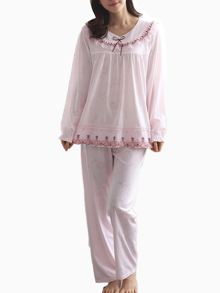 Women's Pajama Set Sweet Floral Lace Hem Long Sleeve Comfortable Home Suit