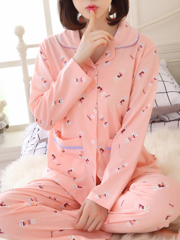 Women's Pajama Set Turn Down Collar Long Sleeve Cute Cartoon Pattern Sweet Home Suit