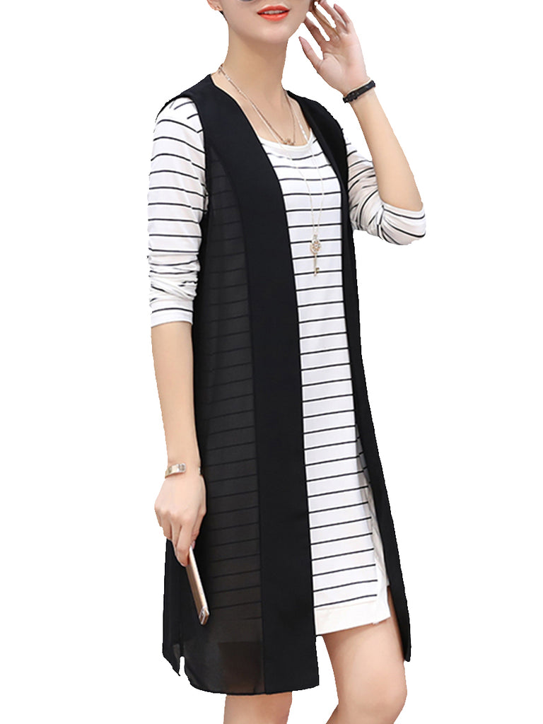 Women's 2Pcs Dress Suits Stripe Pattern Short Sleeve Casual Suits
