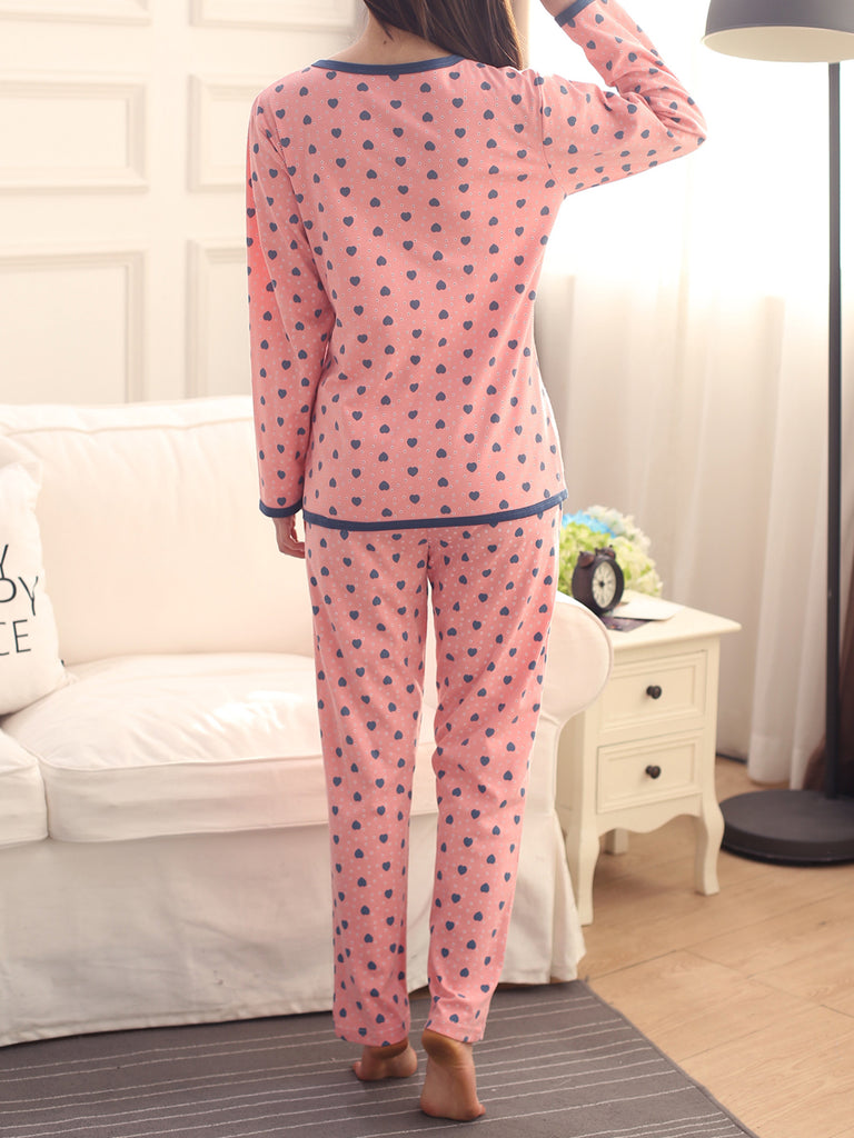 Women's 2 Pcs Sleepwear Polka Dots Pattern Long Sleeve O Neck Comfy Home Suit