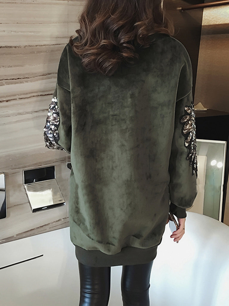 Women's Plus Size Sweatshirt O Neck Sequined Warm Sweatshirt