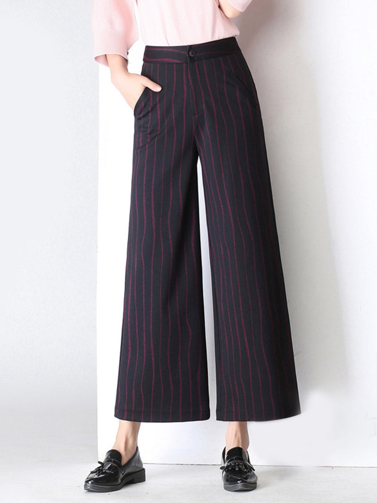 Women's Pants Striped Wide Leg Pants Cropped High Waist Pants